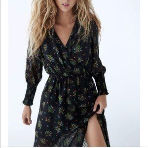 Zara Printed Dotted Mesh Dress
